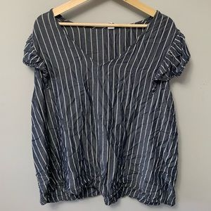 Striped Blouse with butterfly sleeves